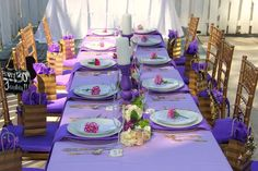 Gorgeous table at a purple ombre birthday party! See more party ideas at CatchMyParty.com!