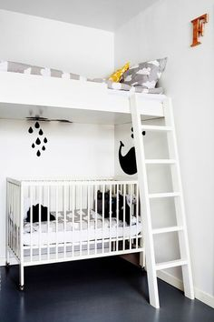 Shared Bedrooms - Handmade Charlotte kids room in a small space - loft bed above the crib Kids Bunk Beds, Loft Beds, Shared Bedrooms, Kid Spaces, Small Spaces, Kids Bedroom, Kids Rooms, Small Rooms, Boy Rooms