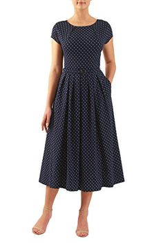 Fashion Tips For Women Ray Bans I & this Pleat neck belted polka dot cotton knit dress from eShakti Girls Formal Dresses, Modest Dresses, Simple Dresses, Cute Dresses, Casual Dresses, Fashion Dresses, Summer Dresses, Women's Fashion, Floral Dresses