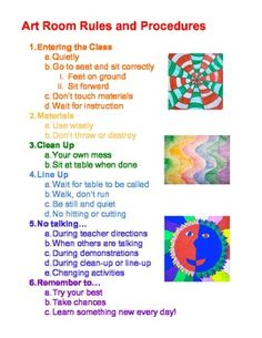 """I remember being a first-year elementary art teacher and being somewhat overwhelmed with the amount of project examples and classroom decorations that needed to be made. I have created this """"Art Room Rules and Procedures"""" document that I review with my 3rd-5th grade students at the beginning of each school year (and throughout as need be!)."""