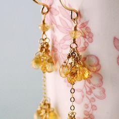 Citrine Earrings Long Dangly Golden Yellow by livjewellery on Etsy