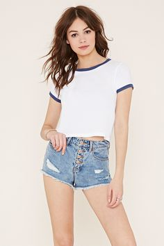 High-Waisted Denim Cutoffs