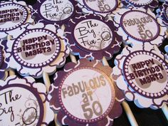 Custom 50th Birthday Purple and Silver Cupcake Toppers. $8.00, via Etsy.