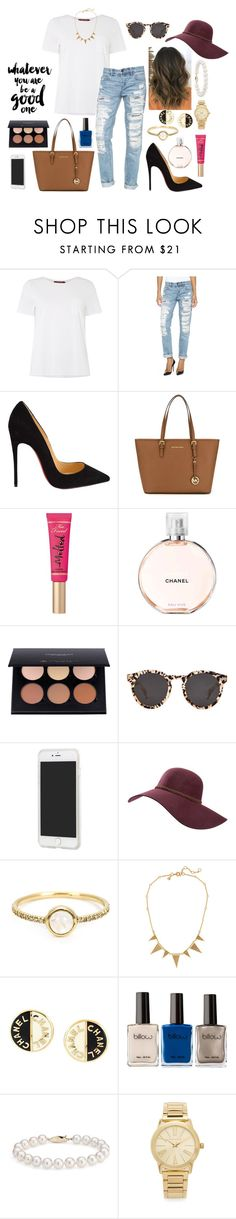 """Whatever you are, be a good one"" by classyandsassyabby ❤ liked on Polyvore featuring MaxMara, Blank Denim, Christian Louboutin, MICHAEL Michael Kors, Too Faced Cosmetics, Chanel, Illesteva, Forever 21, Billabong and Irene Neuwirth"