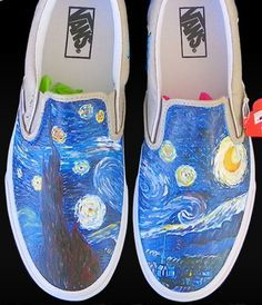 Vincent Van #Gogh Custom Painted Slip-on Painted Canvas Shoes