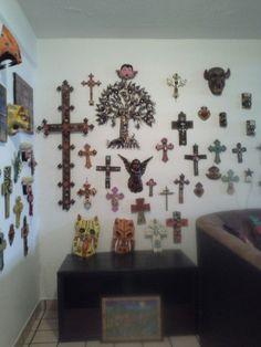 Colourful Day of the dead catrina cross caleca fiesta crosses mixed media tin hojalata mexican decor masks mask devil jaguar pottery my home in chapas mexico