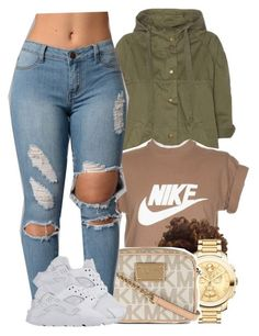 """5/3/16"" by yasnikki ❤ liked on Polyvore featuring Current/Elliott, NIKE, Movado and MICHAEL Michael Kors"