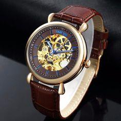 204541cba8f TIME100 new Men Mecânica Esqueleto Relógios Escavar Automatic Self-vento  Relógio de Couro Genuíno Preto