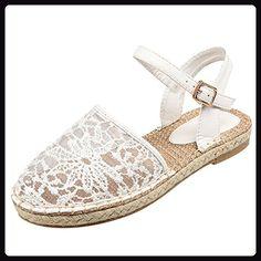 Oasap Women's Lace Cochet Hollow out Flat Sandals, White EURO38/US7/UK5 - Sandalen für frauen (*Partner-Link)