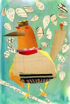 collage bird, Susan Farrington