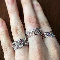 Stackable rings are in! What would you mix & match? Jewellery Rings, Diamond Jewellery, Stackable Rings, Mix Match, Silver Rings, Pendants, Engagement Rings, Jewels, Photo And Video