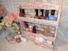 PINK ROSE SHELF NAIL POLISH RACK hp chic shabby vintage cottage hand painted art #VintageSpiceRack #Cottage
