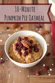 Mmmmmm ... Pumpkin pie … in a super-delicious, satisfying breakfast! Quick and easy pumpkin oatmeal! A fall family favorite, and perfect for Thanksgiving morning! ~ www.TwoHealthyKitchens.com