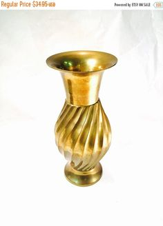HOLIDAY SALE Brass Vase swirl pattern Vintage Brass Vase Genuine Solid Brass with Lovely Golden Patina of Aged Brass