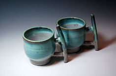 Turquoise Coffee/Tea Cups, wheel throwing with branches shaped handle ceramic mug (Set of 2) on Etsy, $80.00