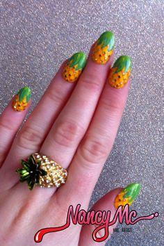 "Nancy Mc strikes again. Love these. #NAILgasm  nancymcnails:    ""Pineapple is the new black"" - For the Bestie xo"
