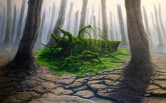 """Saatchi Art is pleased to offer the painting, """"landscape,"""" by Tomasz Alen Kopera. Original Painting: Oil on N/A. Fantasy Landscape, Landscape Art, Landscape Paintings, Art Visionnaire, Spring Painting, Fantasy Places, Visionary Art, Abstract Styles, Surreal Art"""
