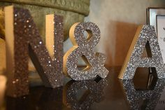 Initial sign letters add a personal touch to make any wedding table entirely yours // Handcrafted Table Signs and Event Decor, Gifts & Accessories at www.ZCreateDesign.com or ZCreateDesign on Etsy