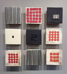 Black and White and Red Nine by Lori Katz: Ceramic Wall Art available at www.artfulhome.com