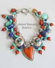 Schaef Designs Apple Coral Turquoise Lapis & Sterling Silver  Charm Bracelet  | New Mexico