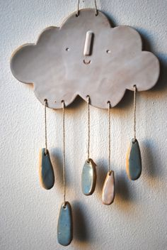 Image of Cloud wall mobile/hanging click the image for more. - Image of Cloud wall mobile/hanging click the image for more details. Slab Pottery, Ceramic Pottery, Cerámica Ideas, Kids Clay, Clay Projects For Kids, Clay Crafts For Kids, Diy Projects, Ceramic Light, Clay Ornaments
