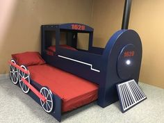 Train Bed with Trundle - Babyzimmer Boys Train Bedroom, Kids Bedroom, Train Room, One Room Flat, Murphy Bed Plans, Diy Bed, Bedroom Themes, Boy Room, Kids Furniture