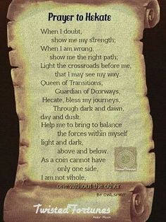 Prayer to Hekate Wiccan Witch, Magick Spells, Wiccan Art, Pagan Witchcraft, Wiccan Crafts, Hecate Goddess, Moon Goddess, Hecate Symbol, Greek Gods And Goddesses