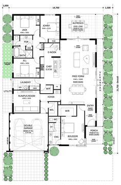 Turn Rumpus Room and Garage into Rental Suite. Courtyard House Plans, Barn House Plans, Dream House Plans, House Floor Plans, The Sims, Single Storey House Plans, Circle House, Architectural Floor Plans, Third Child