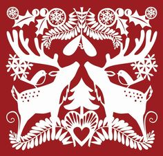 Red Reindeer paper cut by  emily hogarth
