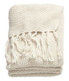 Check this out! Moss-knit throw in soft yarn with wool content. Fringe at short sides. - Visit hm.com to see more.
