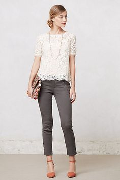 Elysian Lace Top on Anthropologie - I want the whole outfit, including the shoes, bag, necklace. NOW.