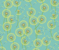 fanciful flight - make a dandelion wish! by coggon. All Spoonflower fabric gets printed in Durham, North Carolina, by a merry band of fabric lovers.