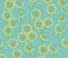 Fanciful Flight - Make a #Dandelion Wish!   #coggon #spoonflower   #butter #aqua #green