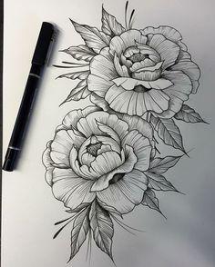 Amazing roses art piercings tattoos, tattoo drawings e tattoo designs. Peony Flower Tattoos, Flower Tattoo Arm, Flower Tattoo Designs, Carnation Flower Tattoo, Marigold Tattoo, Tattoo Sketches, Tattoo Drawings, Body Art Tattoos, Sleeve Tattoos
