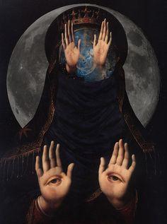 art My art moon hands night eye dark surrealism collage wisdom mysterious mystic Spiritual occult awakening Matrix Consciousness Dark Fantasy Art, Dark Art, Psy Art, Arte Obscura, Occult Art, Psychedelic Art, Grafik Design, Horror Art, Surreal Art