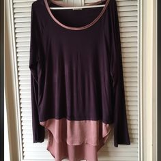 Long sleeve from Anthropologie. Purple long sleep with pink silk under for length. Light material. Worn twice. Size x-Large. Anthropologie Tops