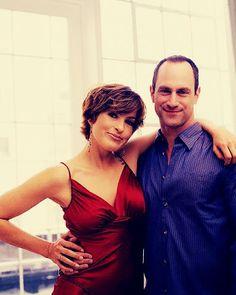 Mariska and Chris; red dress