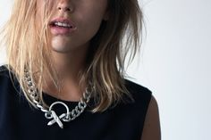 Luv AJ crystal cross necklace on AFTER DRK, Sabrina Meijer