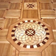 Picture of R27 Medallion, ID87. Example of custom floors, medallions, inlays, borders and parquet, marble waterjet medallions