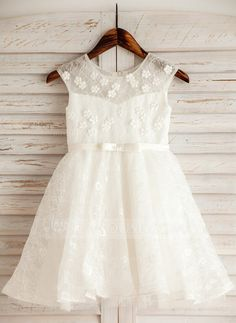 [€ 54.16] A-Line/Princess Knee-length Flower Girl Dress - Satin/Tulle/Lace/Cotton Sleeveless Scoop Neck With Flower(s) (010092651)