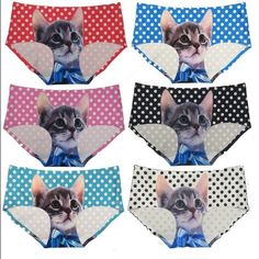 🆕🎀 6 Pairs of Polka Dot Kitty Panties Description: 90% Polyester / 10% Spandex; Cotton Lining at Crotch Machine Wash Cold 6 Colors available Size: S/M/L/XL Comfortable & Stretchy Laser Cut Panties Fabric: 90% Polyester / 10% Spandex - price is firm unless bundled with another listing! Intimates & Sleepwear Panties