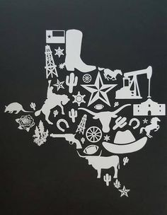 The great state of Texas! Original design of the icons of the Lone Star State. White Icons against a black background. Texas Tattoos, State Tattoos, Texas Logo, Texas Quotes, Texas Crafts, Hardcore, Texas Shirts, Texas Forever, Loving Texas
