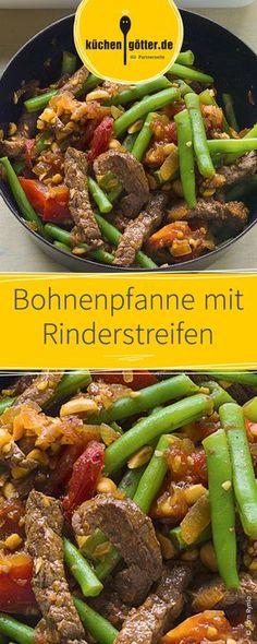 Knackige Brechbohnen, dazu zartes Rindfleisch und Erdnüsse. Diese deftige Rezept hat es in sich! Ein schnelles Rezept für den Feierabend.