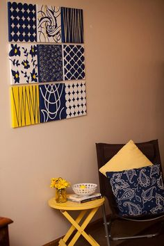 navy wall decor yellow dahlia on navy and white polka dot x
