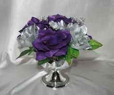 6 Purple Silver Centerpieces Decorations Bridal Bouquet on eBay!