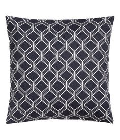 Dark blue/White. Cushion cover in patterned cotton twill with a concealed zip.
