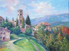"""""""Basano Castle - Italy"""" Alex Perez  Chilean Impressionist"""