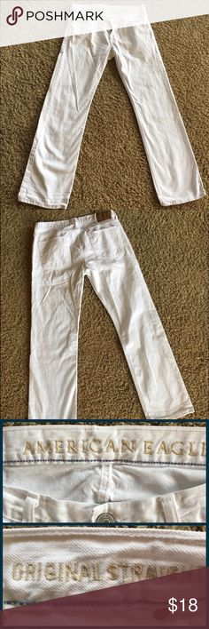 American Eagle Jeans Original Straight White 34X34 American Eagle Original Straight White Jeans.   My college age son has went down in sizes. I'm listing his clothes that no longer fit. These were worn maybe twice. 🙄 SZ 34x34    🚭Nonsmoking Home. ✅We Have a Morkie. 🚫Sorry No Trading. American Eagle Outfitters Jeans Straight