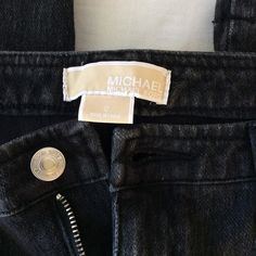 "MICHAEL KORS BLACK JEANS SIZE 12 MICHAEL KORS BLACK JEANS SIZE 12 , The waist measures 17"" laying flat and the length is 37 1/2. Sorry no trades. MICHAEL Michael Kors Jeans Straight Leg"