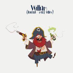 Pirates (character design) on Behance Fantasy Character, Character Concept, Character Art, Concept Art, Pirate Illustration, Children's Book Illustration, Simple Character, Game Character Design, Pirate Cartoon